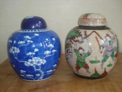2xchinese 19th century qing period ginger jars with lid
