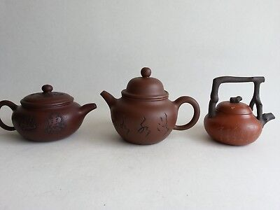 3 small Modern Chinese Yixing Calligraphy Teapots Teapot marked