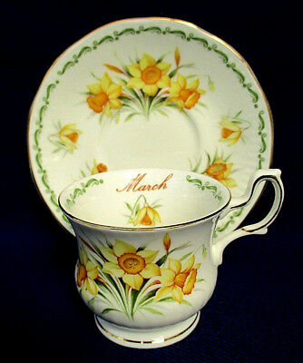 """Queens China - Flower Of The Month   """"march Daffodil""""   Coffee Cup & Saucer"""