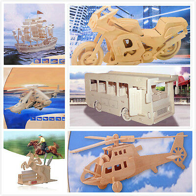 Sailboat Plane Vehicles DIY 3D Jigsaw Wooden Model Construction Kit Toy Puzzles@