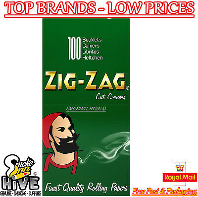 Zig Zag Green Regular Size Cigarette Standard Rolling Papers - 100 Pack Full Box
