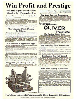 1911 Oliver Typewriter Co, Chicago, Illinois Printype Typewriter Advertisement