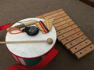 musical instruments used Wooden ELC Pipes Maracas Xylophone Drum