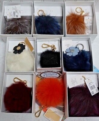NWT Michael Kors FUR POM POM Key Charm Key chain In Various COLORS & SIZES