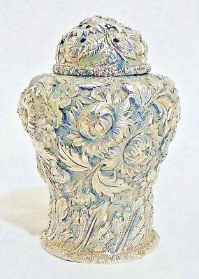 A high-relief repousse sterling sugar caster, Stieff Rose, by Stieff