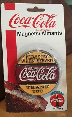"""Coca Cola Magnet """"PLEASE PAY WHEN SERVED"""" 1996 Original Packaging"""