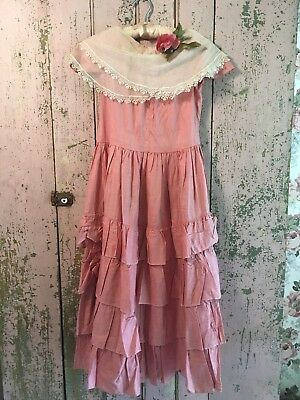 Antique Girls Dress Pink Ruffle French Netting Lace Millinery Rose Cotton Fabric