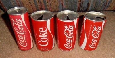 4 Diff- Vintage & Rare Coca-Cola Foreign Very Old Soda Can Lot Asia Singapore ??