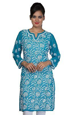 ADA Lakhnavi Chikan Faux Georgette Teal Blue Kurti Regular Wear Tunic Dress