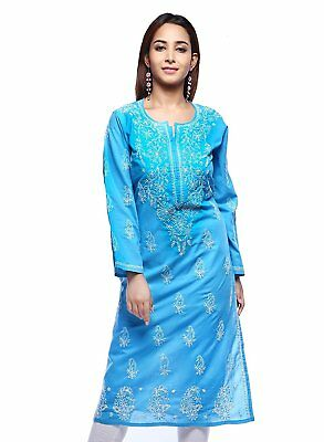 ADA Lucknow Chikankari Blue Cotton Kurti Party Wear Embroidered Kurta- S,M,XL
