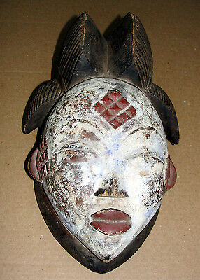 African Punu Mask Maiden Mukudji Africa Gabon ART DOUBLE CRESTED Masque Antique