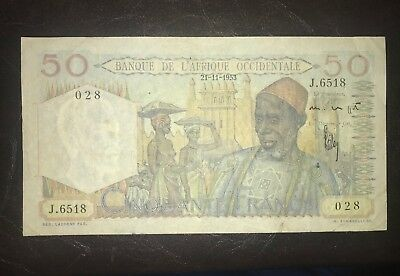 FRENCH EQUITORIAL AFRICA 50 franc banknote 1953 P.39-2 L'AFRIQUE OCCIDENTALE