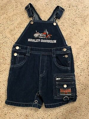 Harley Davidson Sz 12M Baby Boys Toddler Jean Short Overalls Outfit Embroidered