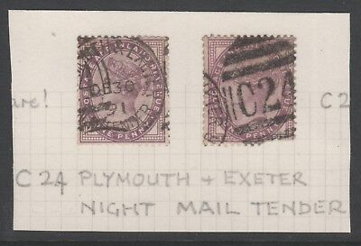 Plymouth & Exeter Night Mail Tender Postmarks 1891