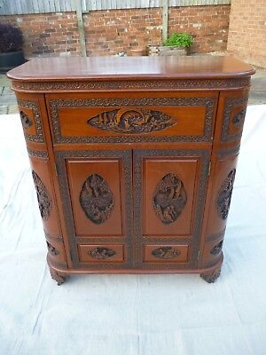 Antique Camphor wood Oriental Asian/Chinese Carved  Drinks Cabinet