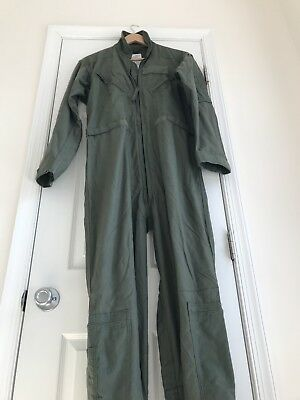 Warm Chemical Defense Flight Suit Coveralls 40R Green Activated Carbon Clean