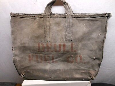 Vintage Canvas Coal Tote Bag Stenciled Patina Industrial Worn  Wall Hanger