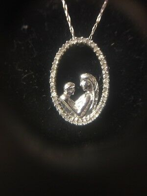 10k White Gold Mother And Child Diamond Pendant Necklace Mother's Day Gift