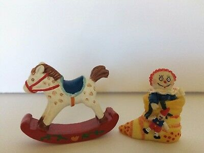 Lot of 2 Mary Engelbreit Rocking Horse AND Christmas Stocking Doll Collectibles