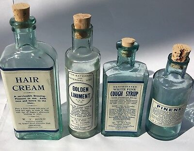 Collection of Antique Old Vintage Glass Bottles With Leicester Chemist Labels