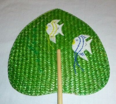 Vtg Mid Century Wicker Rattan Woven Fan with Embroidered Tropical Fish Kitsch!!