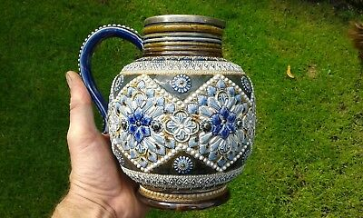 A Stunning Early Doulton  Squat Water Jug C1880 (Signed ES).