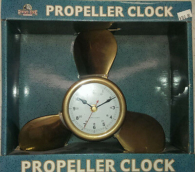 """Solid Brass Propeller Clock Accurate Quartz Movement Wall Mount Around 9"""" Tall"""