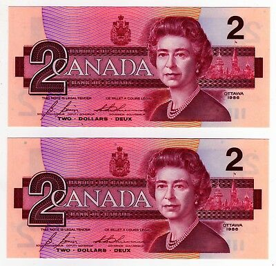 1986 Canada 2 Dollar Notes - 2 in Sequence - EGS0682537/38, BC-55c-i