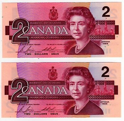 1986 Canada 2 Dollar Notes - 2 in Sequence - EGS0682535/36, BC-55c-i