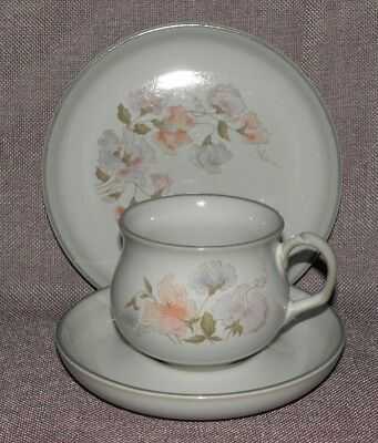 Denby Stoneware, Encore, Trio of Cup, Saucer & Tea Plate, Sweetpea Design
