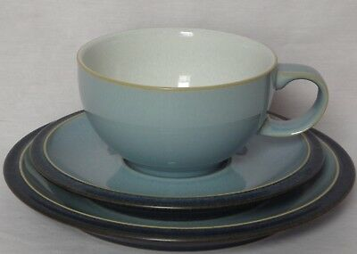 Denby, Blue Jetty, Trio of Tea Cup & Saucer with side / tea plate