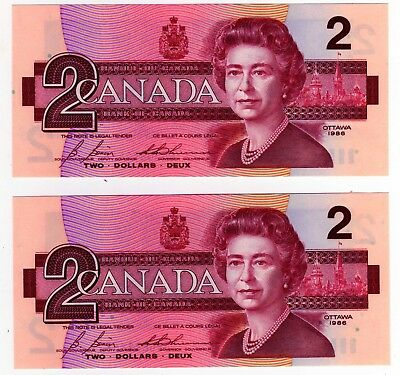 1986 Canada 2 Dollar Notes - 2 in Sequence - EGS0682558/59, BC-55c-i