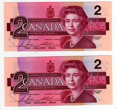 1986 Canada 2 Dollar Notes - 2 in Sequence - EGS0682556/57, BC-55c-i