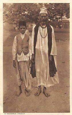 India Ethnic A Brahmin Priest Native Man & Young Boy Pose Printed Card
