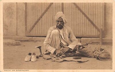 India Ethnic Mochi Or Shoemaker Native Man Cobbler Sits On Ground Printed Card
