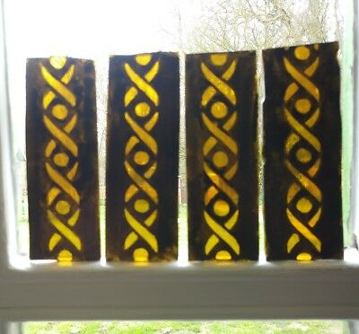 Stained Glass x 8 Border pieces, Old Vintage Design. Hand painted kiln fired.