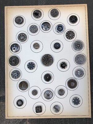 Card of 30 ANTIQUE BUTTONS, Assorted BLACK GLASS-Silver Luster, 1800s + Vintage