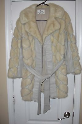 Beautiful vintage leather and mink mid length woman's coat