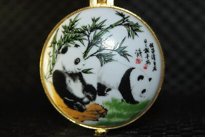 Handwork Chinese Exquisite Porcelain Painting Panda Eat Bamboo Beautiful Boxes
