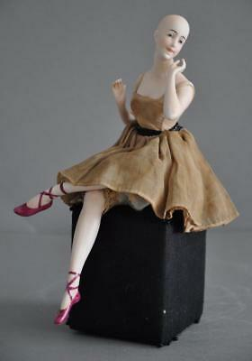 Great Porcelain Lady Full Figurine with Legs Half Doll rel. Goebel Germany