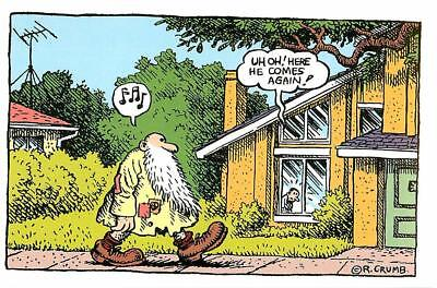 R. Crumb Uh Oh Here Comes Mr. Natural in the Suburbs Postcard