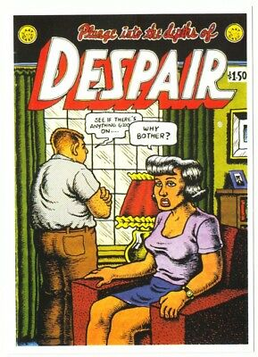 Postcard of R. Crumb Despair Comic Plunge Into the Depths of Despair Cover