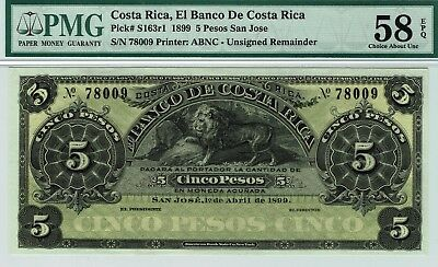 Banco de Costa Rica P-163r1.  PMG 58 EPQ Choice About Uncirculated. Lion.