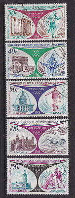 Central African Republic 1972 Olympic Games Used Set 5 Different