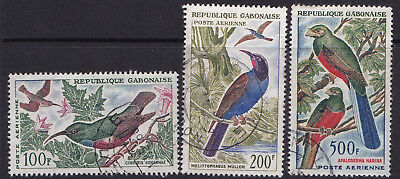 Gabon 1963 Air Mail Birds Used OBL 3 Different