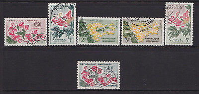 Gabon 1961 Flowers Used OBL 6 Different