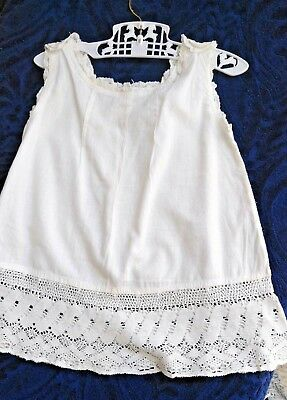 Vintage girls slip, white cotton with lace/crochet, good condition