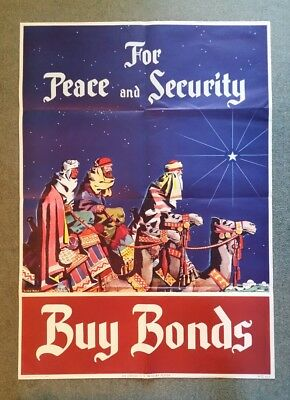"""""""For Peace & Security,Buy Bonds"""" WWII U.S. Treasury Poster,1941-45"""