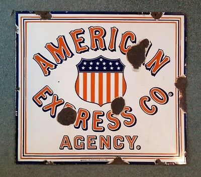 American Express Co.,Agency,Red,White & Blue Porcelain,VINTAGE Sign,1900's-1910'