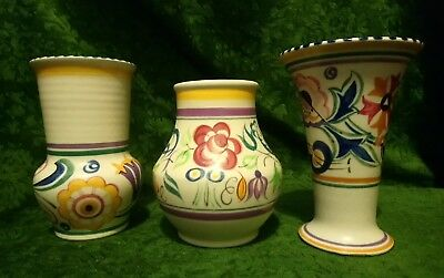 Collection Of 3 Vintage Poole Vases Hand Painted